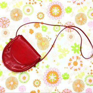 Vintage Red Faux Snakeskin Front Flap Purse